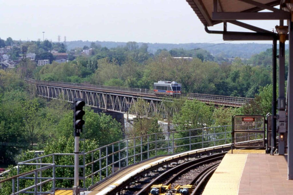a train riding on tracks in norristown, pa
