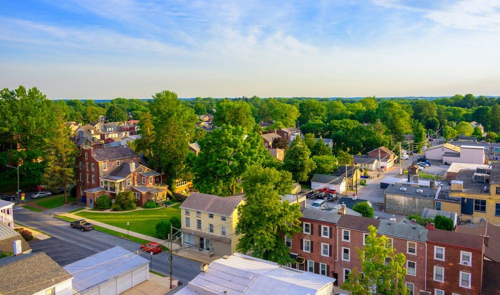 an aerial shot of a town