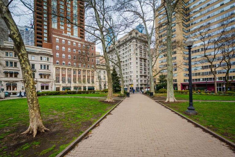 a walkway at rittenhouse square in Philadelphia