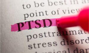 "highlighting the abbreviation ""PTSD"""